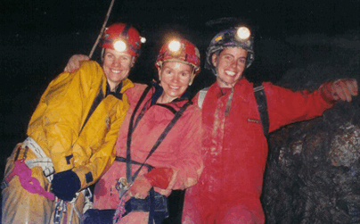 When I did the research for Exploring Caves, I actually got to explore a cave in northwest Georgia with expert cavers Hazel Barton (left) and Nancy Holler Aulenbach (right).  That's me in the middle.