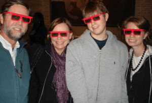 "Wearing 3-D glasses, my family (I'm the short one) waits to see the ""Sea Monster"" movie.  I wrote the companion book for the film."