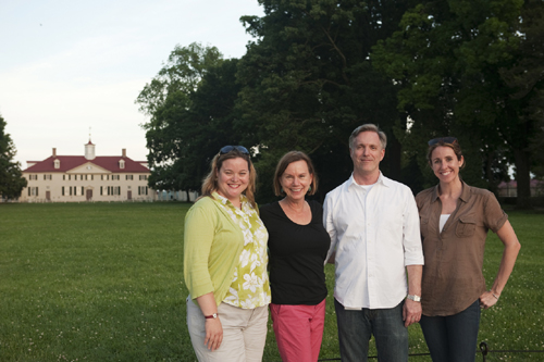 Left to right: Jennifer Emmett (my editor), me, Jim Hiscott (art director and designer) and Hillary Moloney (illustrations assistant) at Mount Vernon. Missing is photographer Lori Epstein. She's behind the lens!
